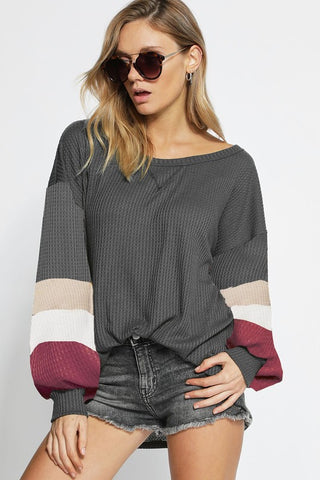 Charcoal Balloon Sleeve Top - Creek & Co