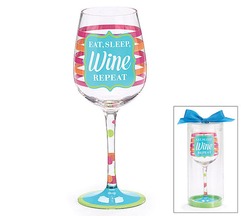 Eat Sleep Wine Repeat Wine Glass - Creek & Co