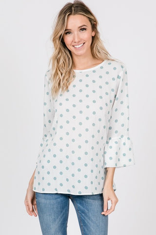 Sage Polka Dot Top - Creek & Co