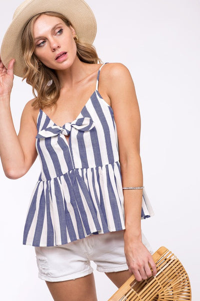 Navy Stripe Tie Front Tank - Creek & Co