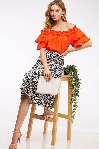 Orange Ruffled Off The Shoulder Top - Creek & Co