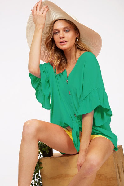 Green Ruffled Front Tie Top - Creek & Co