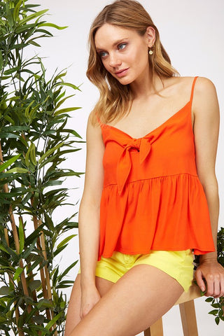 Orange Tie Front Cami - Creek & Co