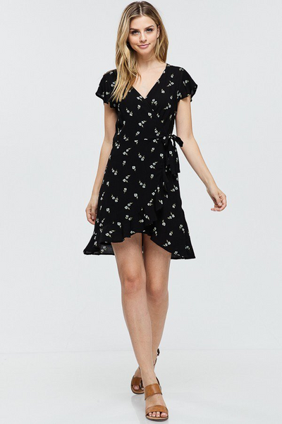 Black Flowered Wrap Dress - Creek & Co