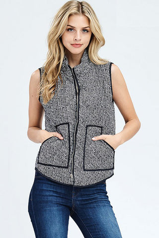 Black and White Zip-up Vest