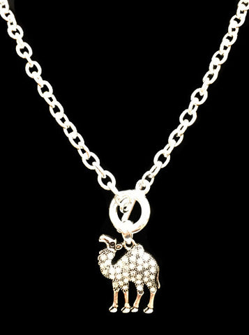 Silver Rhinestone Camel Toggle Necklace