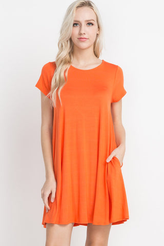 Orange Knit Pocket Dress