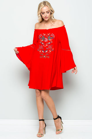 Off The Shoulder Embroidered Boho Dress - Creek & Co