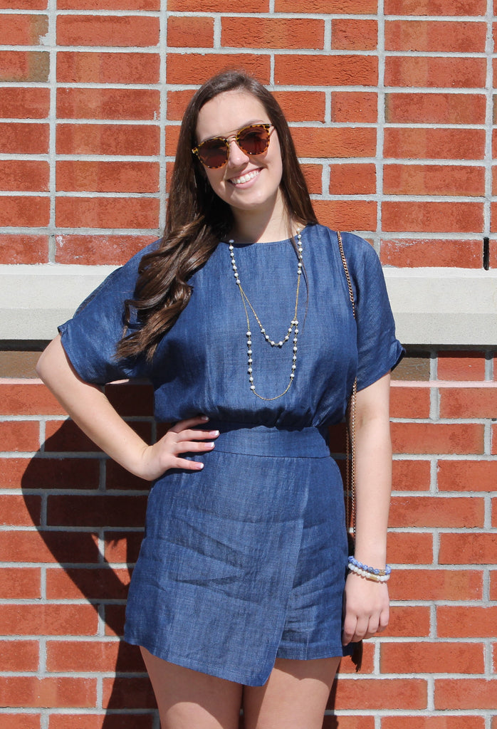 Denim Skort Romper - Creek & Co