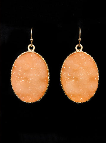 Peach & Gold Druzy Stone Earrings
