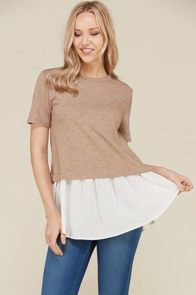 Mocha and Ivory Woven Top