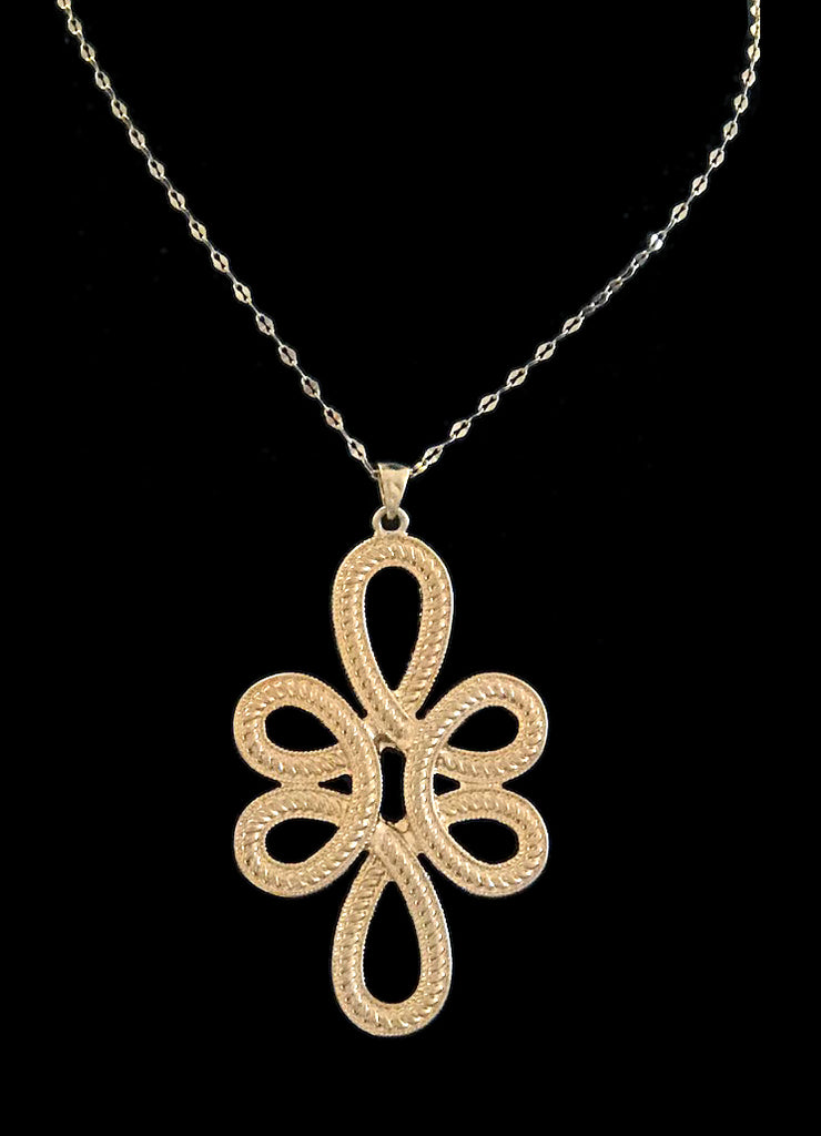 Gold Filigree Pendant Necklace