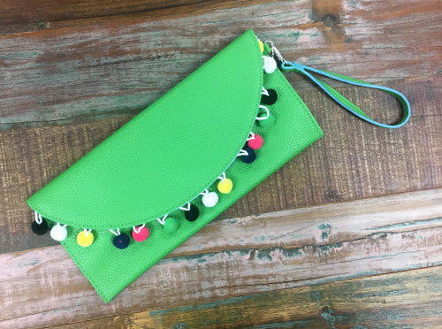 Green Pom Pom Clutch - Creek & Co