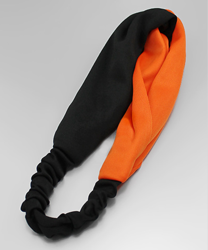 Black and Orange Stretch Fabric Headband - Creek & Co