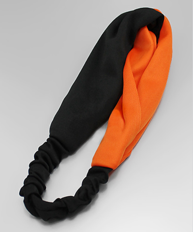 Black and Orange Stretch Fabric Headband