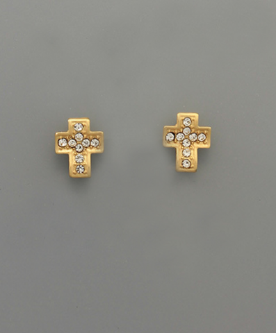 Crystal Waved Cross Stud Earrings