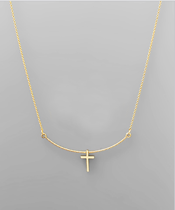 Cross & Curved Bar Necklace - Creek & Co