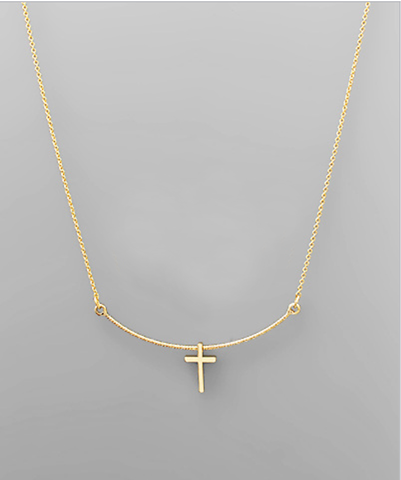 Cross & Curved Bar Necklace