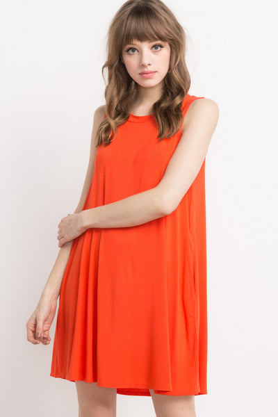 Orange Sleeveless Shift Dress