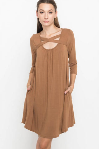 Bronze Criss Cross Neck Dress