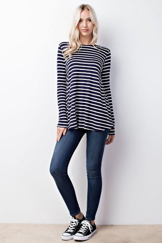 Navy Stripe Back Cutout Top - Creek & Co