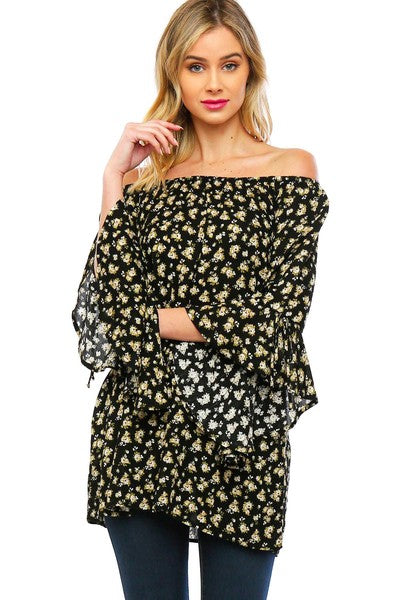 Floral Print Flared Cuff Blouse - Creek & Co