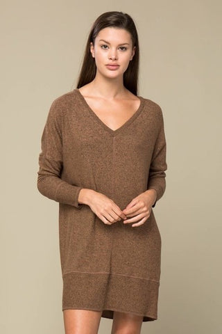 Brown Brushed Knit Dress