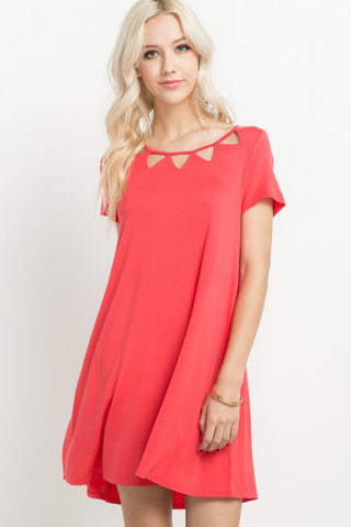 Coral Cutout T-Shirt Dress - Creek & Co