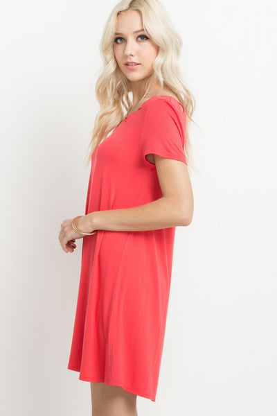 Coral Cutout T-Shirt Dress