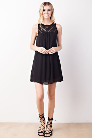 Black Crochet Trimmed Yoke Dress