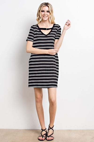 Black and Ivory Stripe Pocket Dress
