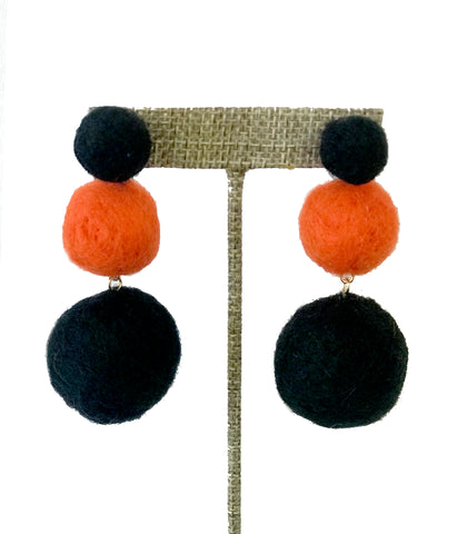 Orange and Black Pom Pom Earrings