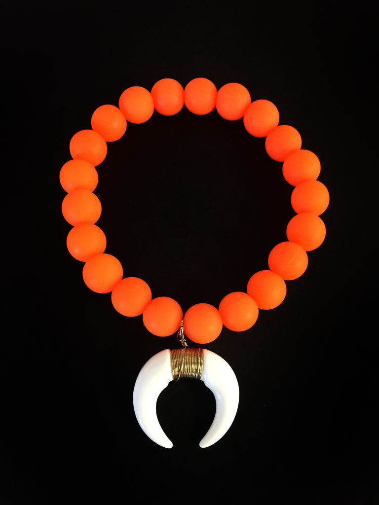 Neon Orange Bracelet with Tusk Charm
