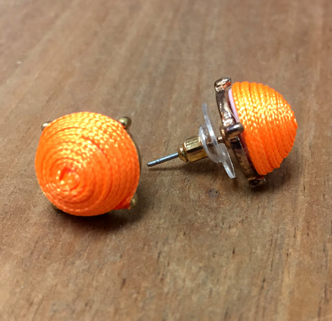 Orange Corded Stud Earrings