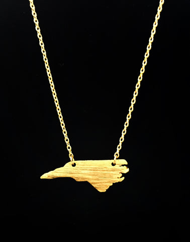 Brushed Gold North Carolina Necklace - Creek & Co