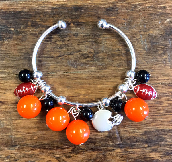 Orange & Black Collegiate Football Charm Bracelet - Creek & Co
