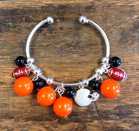 Orange & Black Collegiate Football Charm Bracelet