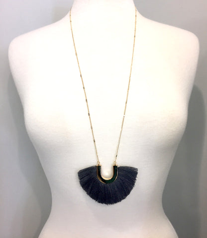 Charcoal Gray & Gold Horseshoe Fringe Necklace
