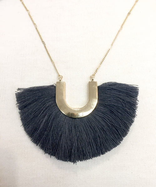 Charcoal Gray & Gold Horseshoe Fringe Necklace - Creek & Co