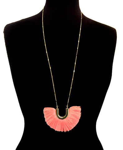 Salmon & Gold Horseshoe Fringe Necklace