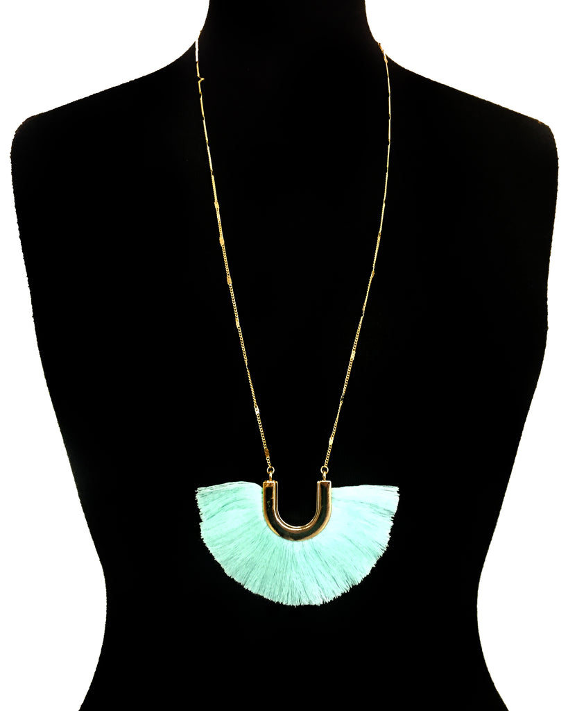 Mint Green & Gold Horseshoe Fringe Necklace - Creek & Co
