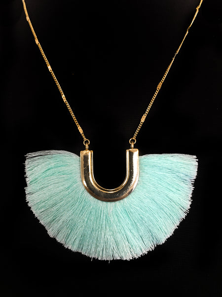 Mint Green & Gold Horseshoe Fringe Necklace