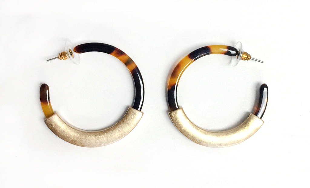 Tortoise Shell & Gold Accent Hoop Earrings