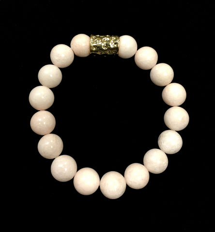 Baby Pink Bead Bracelet With Gold Accent - Creek & Co