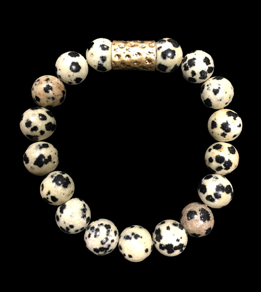 Dalmatian Bead Bracelet With Gold Accent - Creek & Co