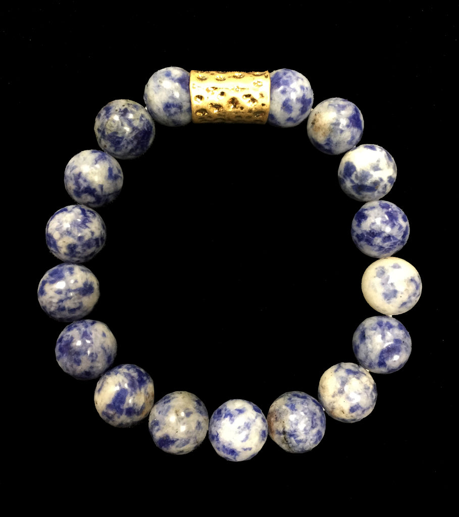 Blue Sodalite Bead Bracelet With Gold Accent - Creek & Co