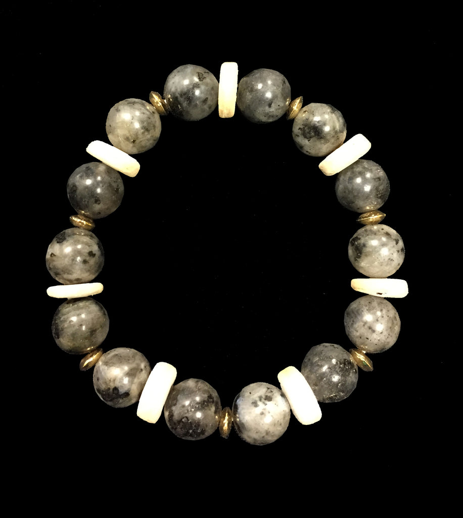 Jasper, Stone & Gold Accent Bead Bracelet - Creek & Co