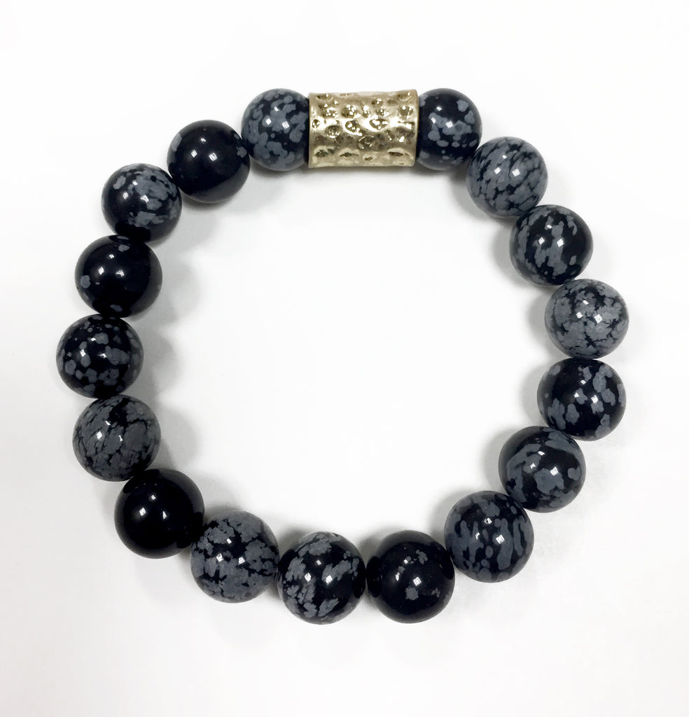 Black Marbled Bead Bracelet With Gold Accent - Creek & Co