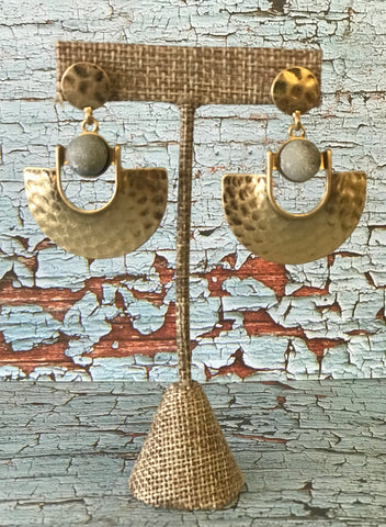 Hammered Gold Fan Earring with Stone Detail