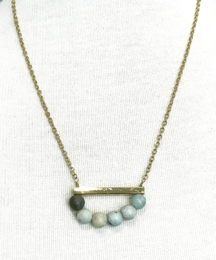 Teal Stone Beads and Gold Bar Necklace